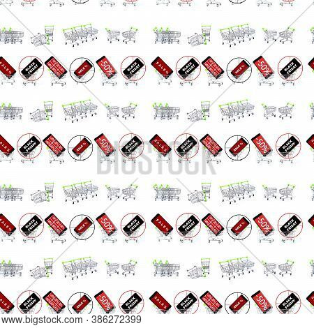 The Seamless Pattern Of Hypermarket Baskets Is Empty And With Discounts And Sales On Black Friday An