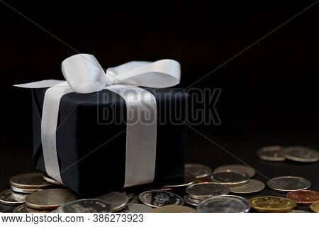 Coin And Gift Box For Shopping Day, Supper Sale Concept