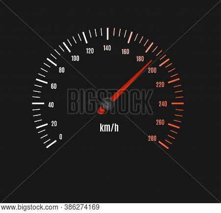 Speed Counter Or Speedometer Dashboard Car With Pointer On A Black. Vector Illustration Of Dial On P