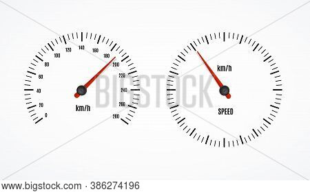 Speed Counter Or Speedometer Dashboard Car With Pointer Set On A White. Vector Illustration Of Measu