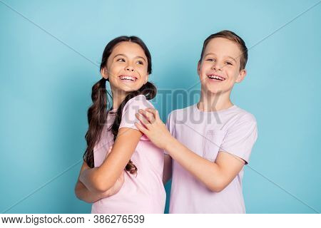 Photo Of Positive Cheerful Two Kids Boy Girl Happy Family Concept Wear Good Look Clothes Isolated Ov