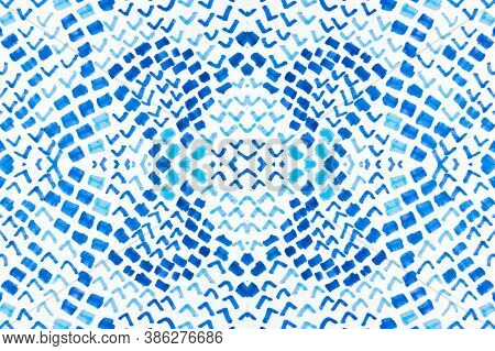 Seamless Predator Pattern. Serpent Or Phyton Wild Surface. Blue Color Design. Artistic Painted Snake