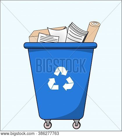 Trash Dumpster With Paper, For Recycling. Segregate Waste, Sorting Garbage, Waste Management. Illust