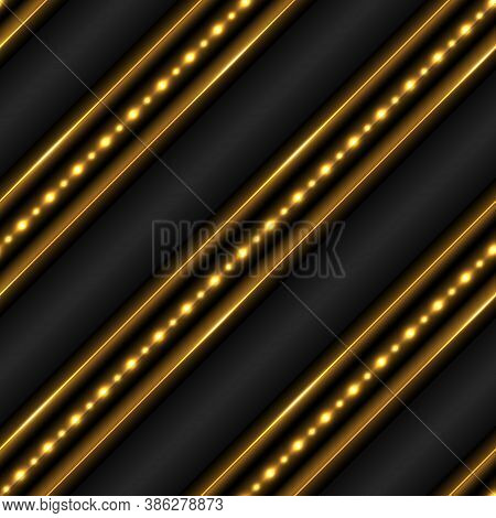 Golden Glowing Background With Light Shine Effect. Geometric Pattern With Lines And Led Strips With