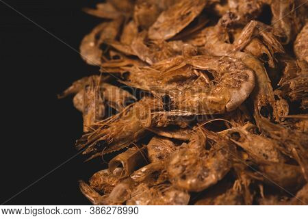 Macro Close Up Of Dry / Dehydrated Shrimp. Selective Focus