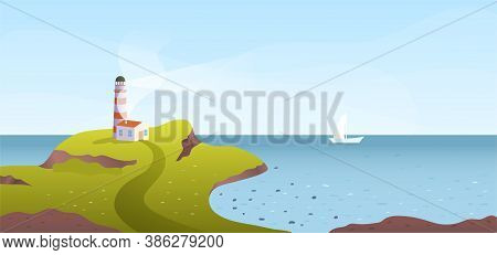 Lighthouse On A Green Promontory Overlooking The Seashore With Passing Ship On The Ocean In A Panora