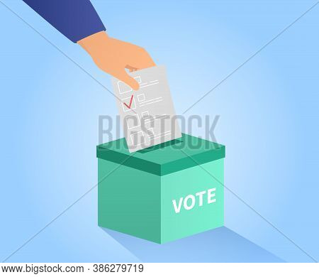 Voting Or Ballot Box With Hand Placing A Vote With Red Check Mark In The Slot, Colored Vector Illust