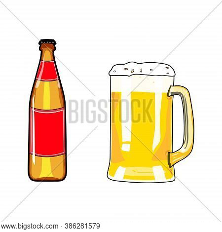 Beer Bottle And Mug Of Beer. Beer Icon. Beer Design Element. Cartoon Style Beer. Hand Drawing Alcoho