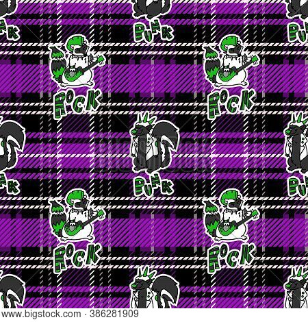 Cute Skunk And Raccoon On Plaid Background Vector Pattern. Grungy Alternative Checkered Home Decor W