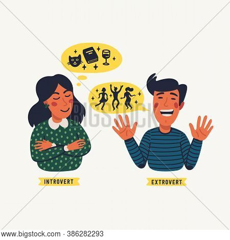 Extrovert And Introvert. Extraversion And Introversion Concept - A Young Calm Woman And Talkative Ma