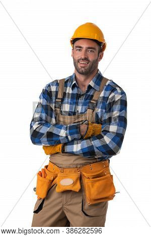 Portrait Of Contractor Worker In Coveralls And Hardhat With Arms Crossed Isolated On White Backgroun