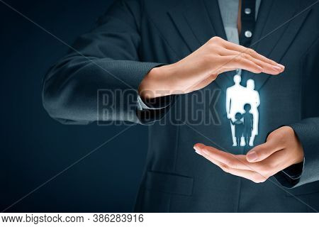 Family Life Insurance, Family Services And Supporting Families Concepts. Businesswoman With Protecti