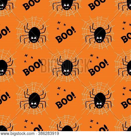 Cute Cartoon Black Spider With Guilty Look, White Cobweb And Boo Word On A Orange Background. Hallow