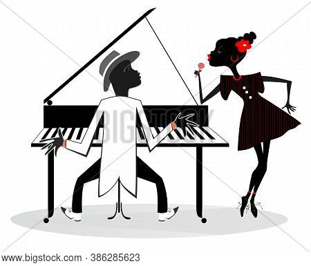 Couple African Musicians, Singer Woman And Pianist Man Isolated Illustration. African Duet Of Woman