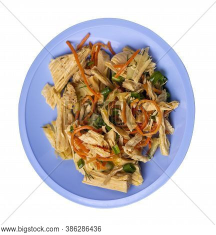 Salad With Soy Asparagus And Carrots, Cucumbers And Dumplings On Light Blue Plate. Vegetarian Soy Sa