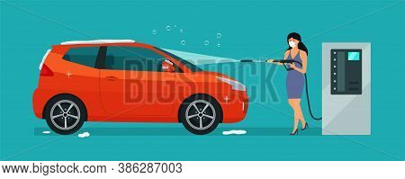 A Woman In Medical Mask Washes A Car In A Self-service Car Wash. Vector Illustration.