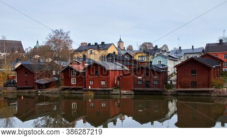 Traditional Old Wooden Building In A Provincial Town In Finland