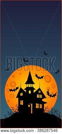 Halloween - Vertical Wallpaper - Full Color Stock Illustration. Baner, Wallpaper Or Flyer With Copy