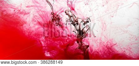 Closeup Of A Red And Black Ink In Water In Motion Isolated On White. Ink Swirling Underwater. Colore