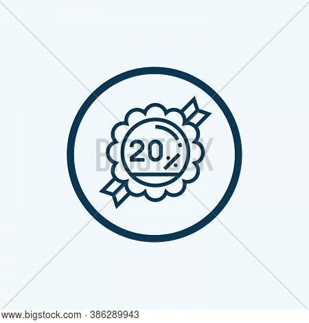 Discount Icon Isolated On White Background From Ecommerce Line Collection. Discount Icon Trendy And