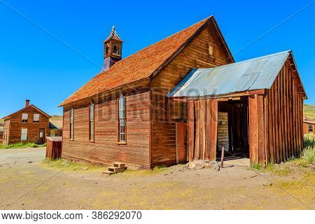 Methodist Church Of 1882 With Bell Tower Of The Antique Fuller Street, Californian Ghost Town, Close