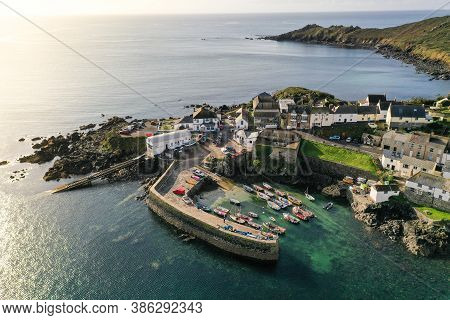 Coverack, Cornwall, Uk - September 12, 2020. An Aerial Landscape  Image By Drone Of The Picturesque