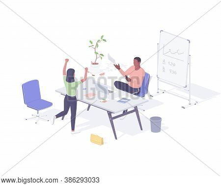 Girl Hired For New Job Realistic Isometric. Female Character Jumps Happily At News That She Has Been