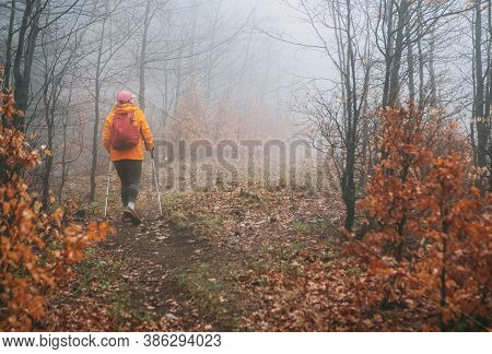 Dressed Orange Bright Jacket Young Woman Backpacker Walking By The Touristic Path Using Trekking Pol