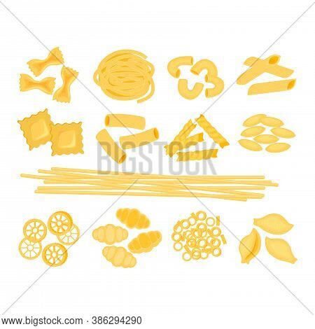 Big Set With The Different Types Of Italian Pasta Vector Illustration Isolated On White Bacground. S