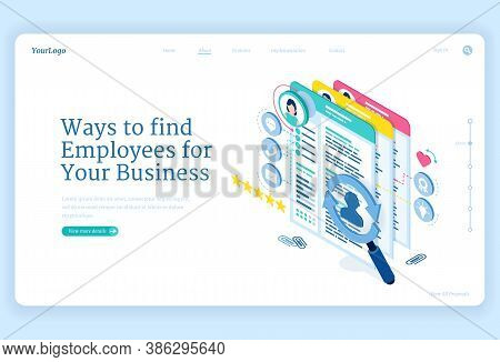 Ways To Find Employees To Business. Concept Of Search And Hire Staff For Company. Vector Landing Pag