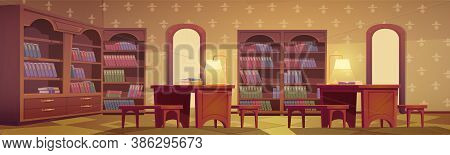 Library Interior, Empty Room For Reading With Various Books Collection On Wooden Bookcase Shelves, D