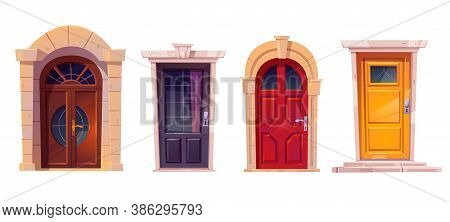 Wooden Front Doors With Stone Frame Isolated On White Background. Vector Cartoon Set Of House Entran