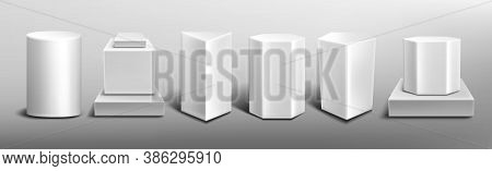 White Pedestals, Empty 3d Stands Different Shapes. Vector Realistic Set Of Blank Podiums For Display