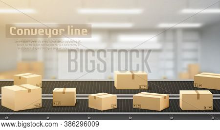 Conveyor Line With Carton Boxes Side View, Industrial Processing Production Belt, Automated Manufact