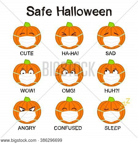 Pumpkins Emoji In A Protective Mask. Funny Hand Drawn Pumpkins In Quarantine. Halloween Vector Illus