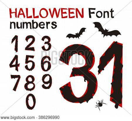 A Set Of Black-bloody Numbers For Halloween With Bats And Spider. Hand-drawn Gloomy Font By October