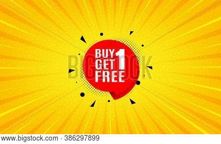 Buy 1 Get 1 Free Sticker. Yellow Background With Offer Message. Discount Banner Tag. Coupon Icon. Be