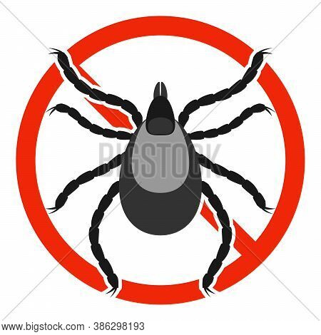 The Mite Parasite With Red Ban Sign. Stop Mite Sign Isolated. Anti Mite Parasite Icon. Vector Illust