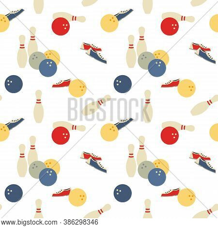 Bowling Team Game Signs Seamless Vector Pattern. Bowling Ball, Pin, Shoes Cartoon Design Element. Sp