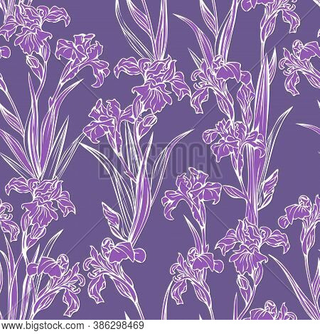 Iris Flowers. Vector Seamless Pattern With Purple Iris Flowers For Scrapbooking, Print.