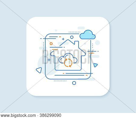 Cloud Computing Sync Line Icon. Abstract Vector Button. Internet Data Storage Sign. File Hosting Tec