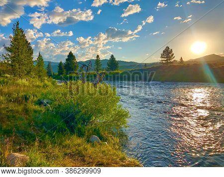 Sunset On The Salmon River Near Stanley Idaho.