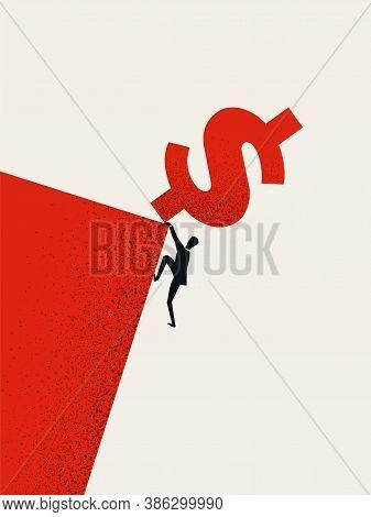 Business Debt Or Bankruptcy Vector Concept. Man Falling Off A Cliff. Symbol Of Market Crash, Recessi