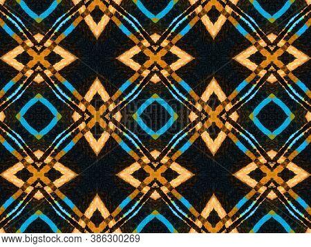 Seamless Zigzag Ikat Print. Tie Dye Style. Ikat Ornament. Ethnic Bohemian Ornamental Native Backgrou
