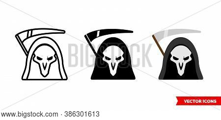 Grim Reaper Death Icon Of 3 Types Color, Black And White, Outline. Isolated Vector Sign Symbol.