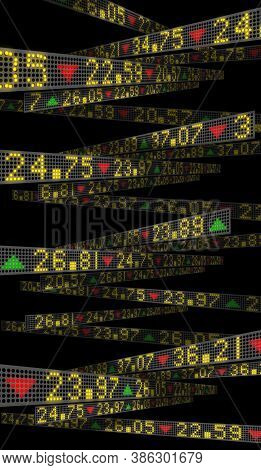 3d Rendering With Stock Market Tickers On Trading Boards For Wall Street Financial And Business Back