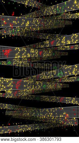 3d Illustration With Dissolving Stock Market Tickers On Trading Boards For Wall Street Financial Cri