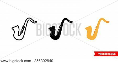 Jazz Saxophone Icon Of 3 Types Color, Black And White, Outline. Isolated Vector Sign Symbol.