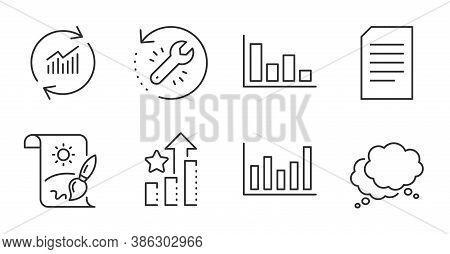 Recovery Tool, Column Chart And Document Line Icons Set. Histogram, Speech Bubble And Update Data Si