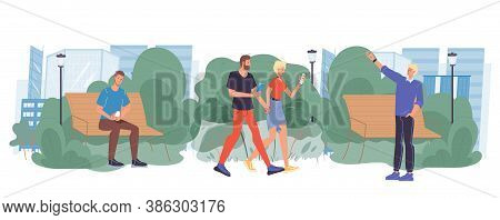 People Look At Gadget Screen On Walk In Urban Park. Man Woman Couple Walking Using Smartphone Meetin